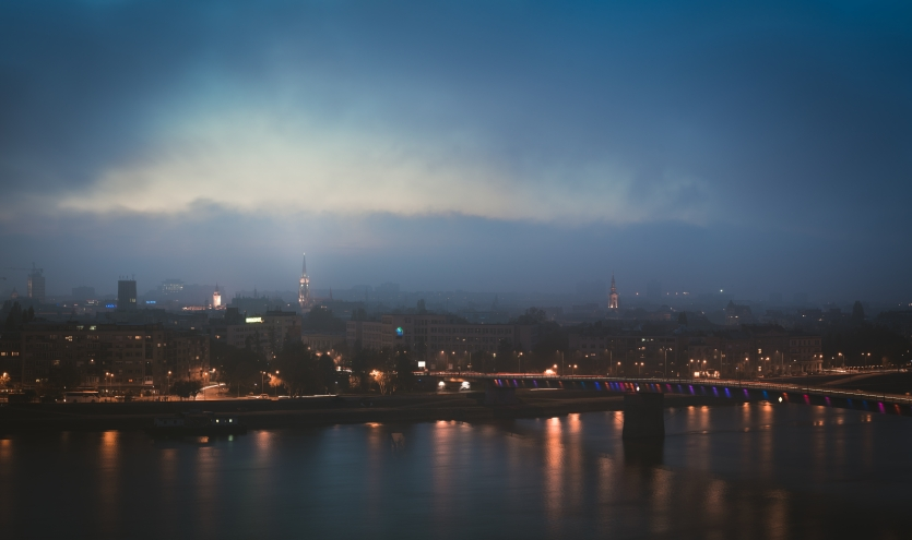 Novi Sad Cityscape at Autumn Dusk