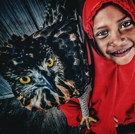 Little girl and eagle